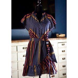 Anthropologie Sibyl Striped Metallic Dress New XSP